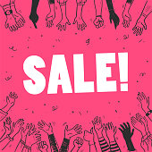 Vector flat sale banner template with human hands, confetti and text slogan on pink background. Hand drawn sketch style. Good for advertising, media, decor, flayers, posters, placards, tags so on.