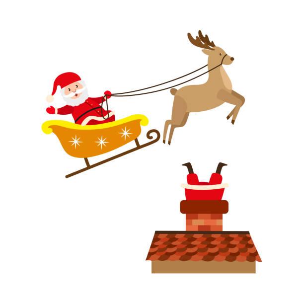 vektor flache weihnachtsmann-szenen-set - kaminverkleidungen stock-grafiken, -clipart, -cartoons und -symbole