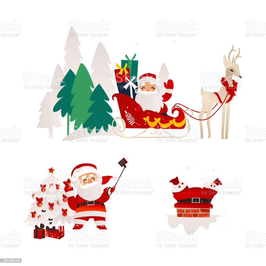 vector flat santa claus scenes set vector art illustration