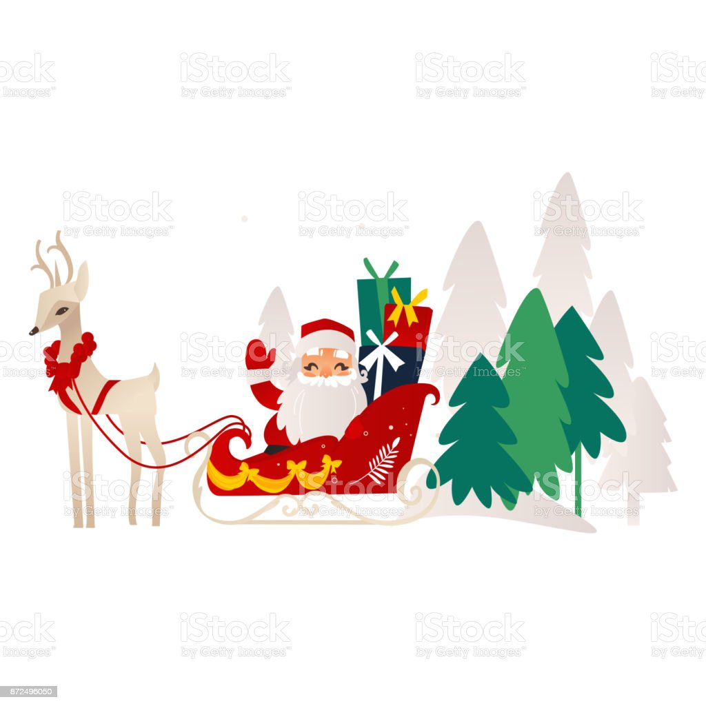 Vector Flat Santa Claus With Reindeer Sleigh stock vector ...