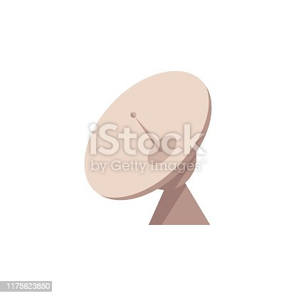 istock Vector flat satellite radar dish with antenna icon 1175623850