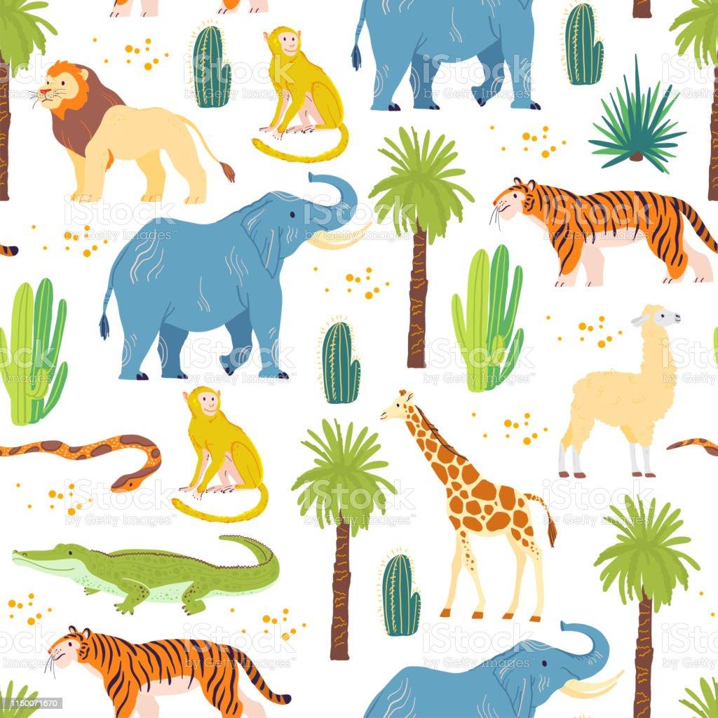 Vector flat seamless pattern with hand drawn desert animals,...