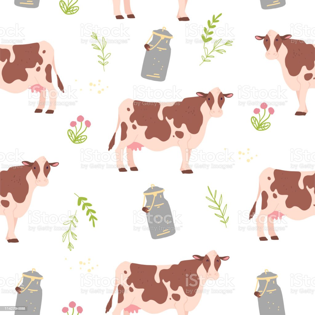 Vector flat seamless pattern with hand drawn farm domestic cow...