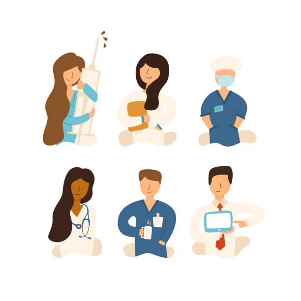 Vector Flat set Krankenschwester Krankenhaustherapeut hören – Vektorgrafik