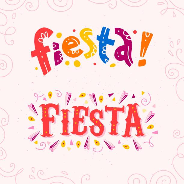 illustrations, cliparts, dessins animés et icônes de set plat vector de fiesta lettrage texte isolé sur fond blanc avec cadre floral boudinage et ligne tracée à la main les éléments art. - carnaval