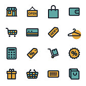 Vector flat shopping icons set