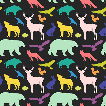 Vector flat silhouettes animals seamless pattern. Fox, hedgehog, squirrel, deer, hare, wolf, bear, wild boar and birds. Colorful animals on black background