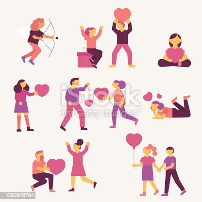 Vector flat simple people with valentine's day symbols.