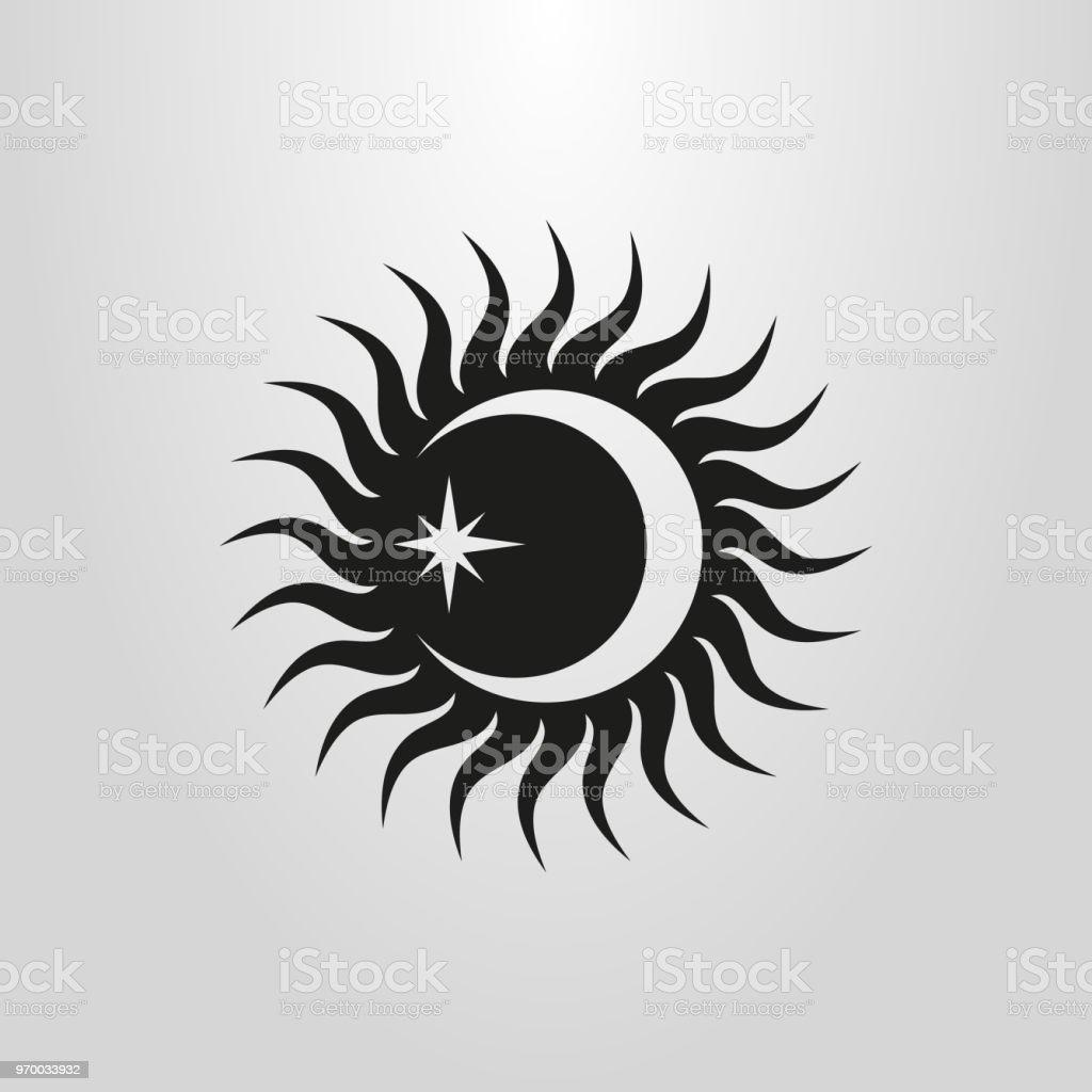 vector flat simple sun, moon and star icon