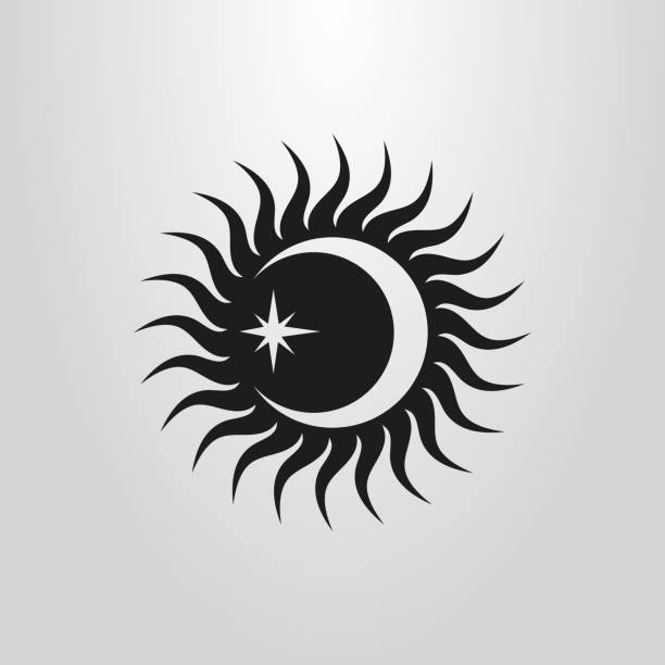 vector flat simple sun, moon and star icon vector art illustration