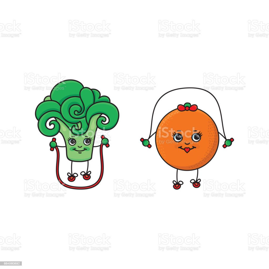 vector flat sketch fruits, vegetables doing sport vector art illustration