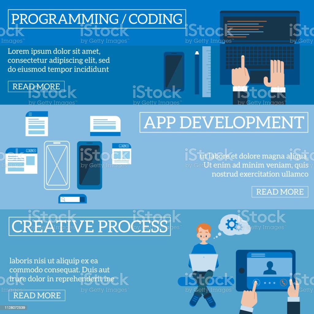 Vector Flat Software Apps Development Concept Set Stock Illustration