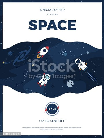 Space exploration modern vertical background design with cosmos and text. Cute template with Astronaut, Spaceship, Rocket, Moon and Stars for poster, banner or website