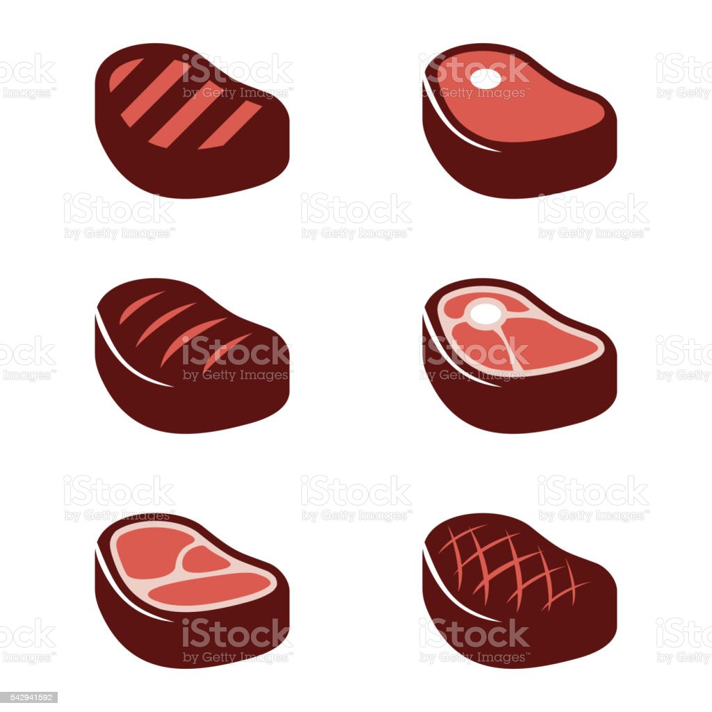 Vector flat steak icons set vector art illustration