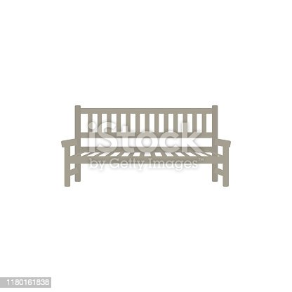 Flat street, park or garden wooden bench icon. Place to seat and rest, outdoor furniture object. Cityscape design object. Vector flat illustration isolated.