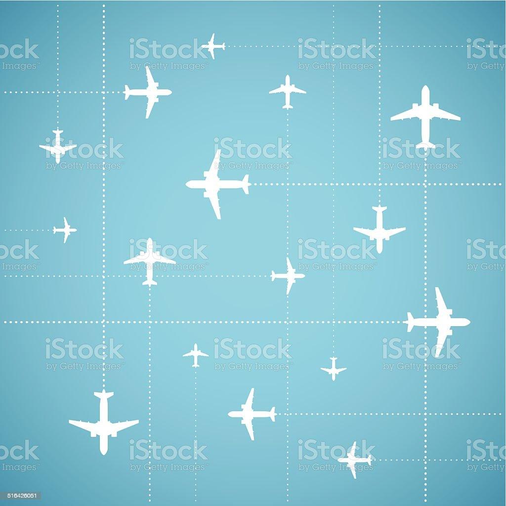 Vector flat style air travel background vector art illustration