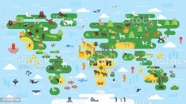 Vector flat style big abstract world map with animals vector id670085768?b=1&k=6&m=670085768&s=612x612&h=a qqsbqydffh7dpz 1gjoz4caxmvgxvidlyao6klzhi=