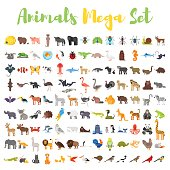 Vector flat style big set of animals. Icon for web. Isolated on white background.