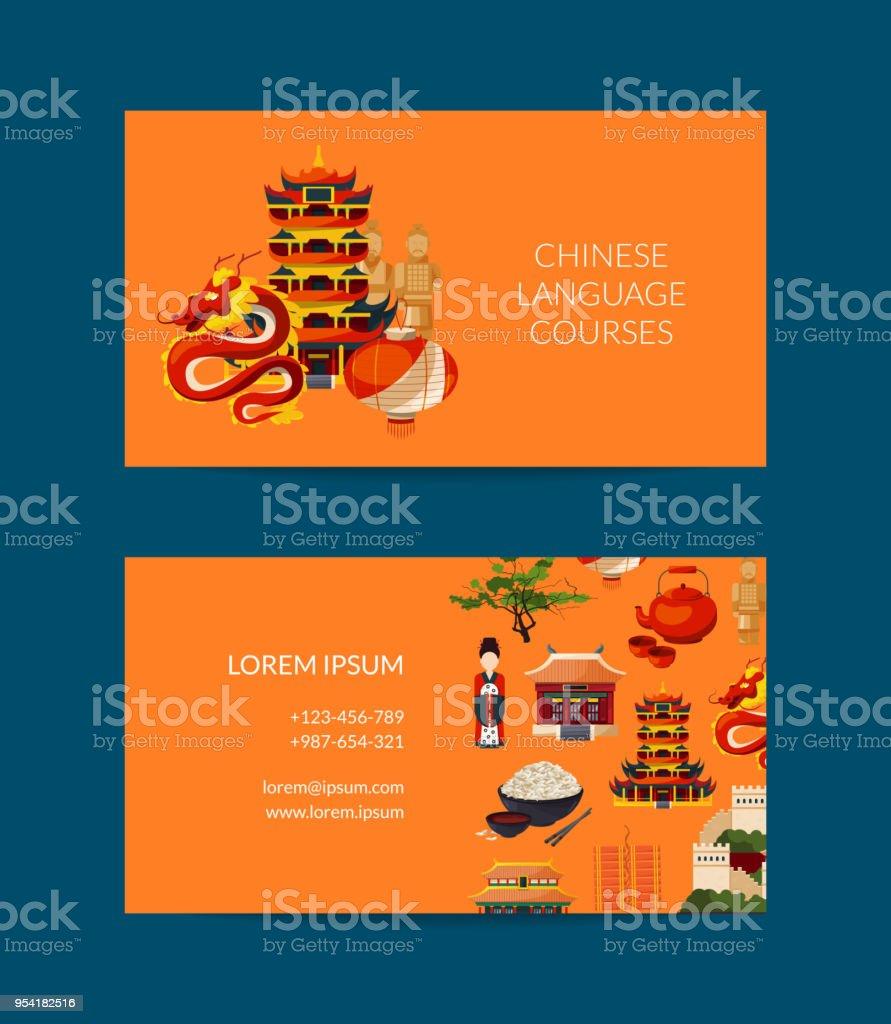 Carte Visite Chine.Modele De Carte De Visite Vecteur Plat Style Chine Elements