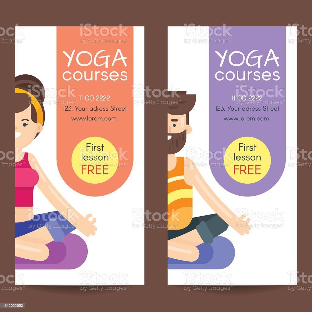 Vector Flat Style Design Template For Yoga Flyer Stock Vector Art
