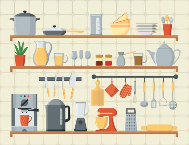 vektor-flachen stil-ikonen satz von küchenutensilien und kochen. karte mit küchenregale, kochutensilien und ausrüstung. - küchenmixer stock-grafiken, -clipart, -cartoons und -symbole