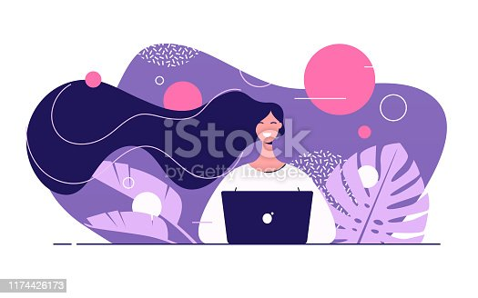 Vector flat style illustration of a young beautiful woman with laptop surrounded by tropical leaves.