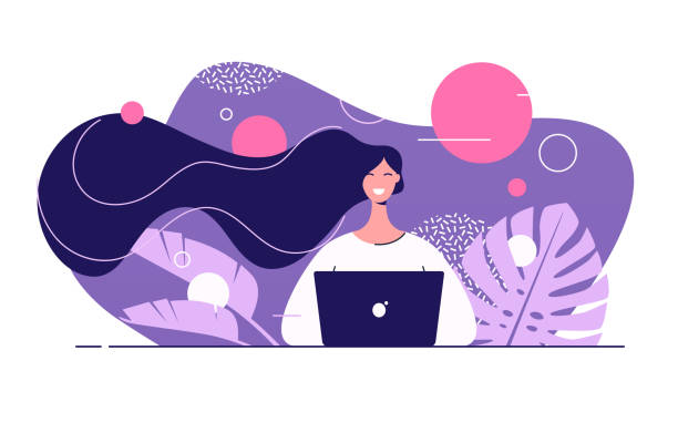 Vector flat style illustration of a young beautiful woman with laptop surrounded by tropical leaves Vector flat style illustration of a young beautiful woman with laptop surrounded by tropical leaves. online shopping stock illustrations