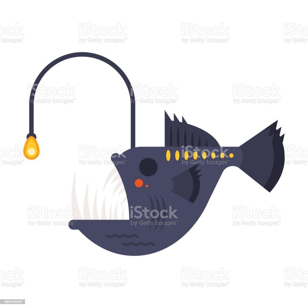 Vector flat style illustration of angler fish. vector art illustration
