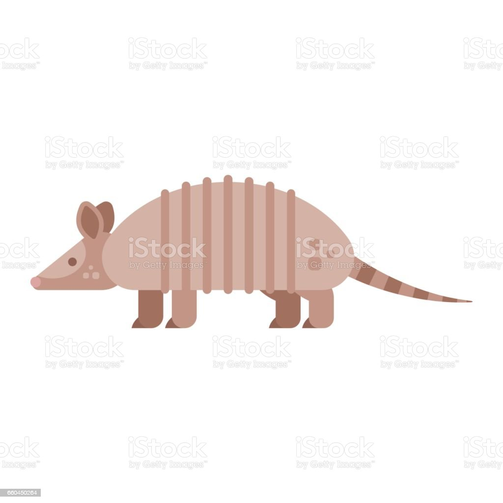 Vector flat style illustration of armadillo. vector art illustration