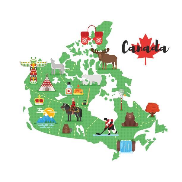 ilustraciones, imágenes clip art, dibujos animados e iconos de stock de ilustración de estilo plano de vector de canadá mapa con símbolos culturales nacionales canadienses. - viaje a canadá