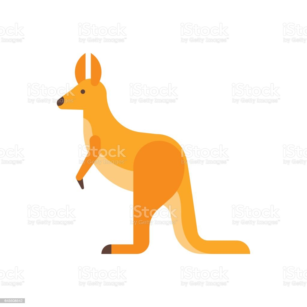 Vector flat style illustration of kangaroo.
