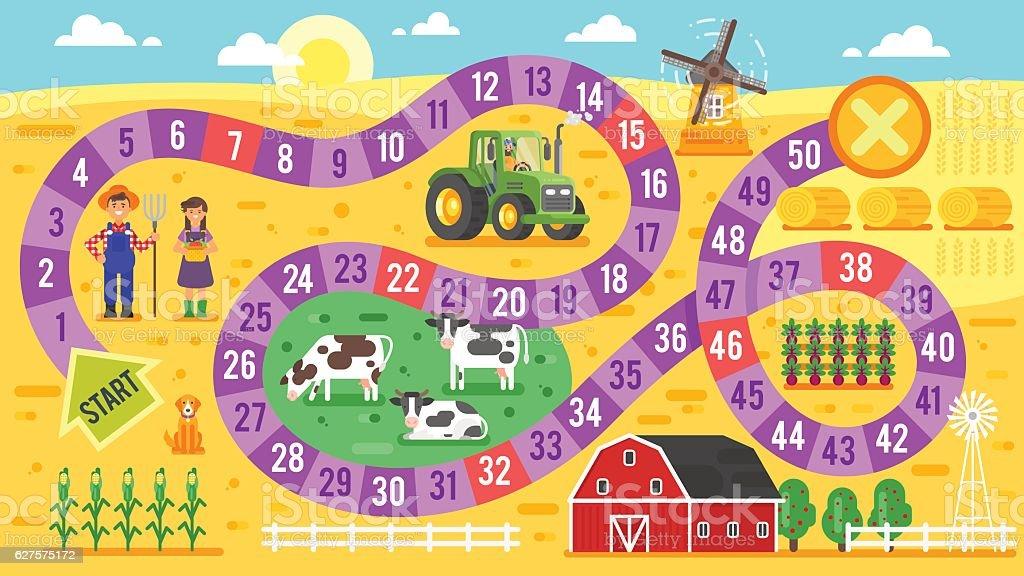 Vector flat style illustration of kids farm board game template. vector art illustration