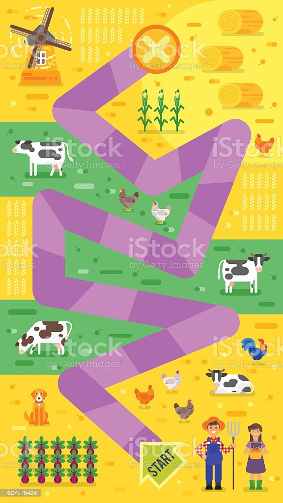 Vector flat style illustration of kids farm board game template. vector art illustration