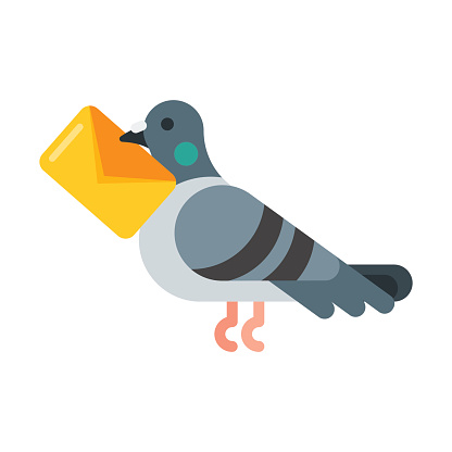 Vector flat style illustration of post pigeon.