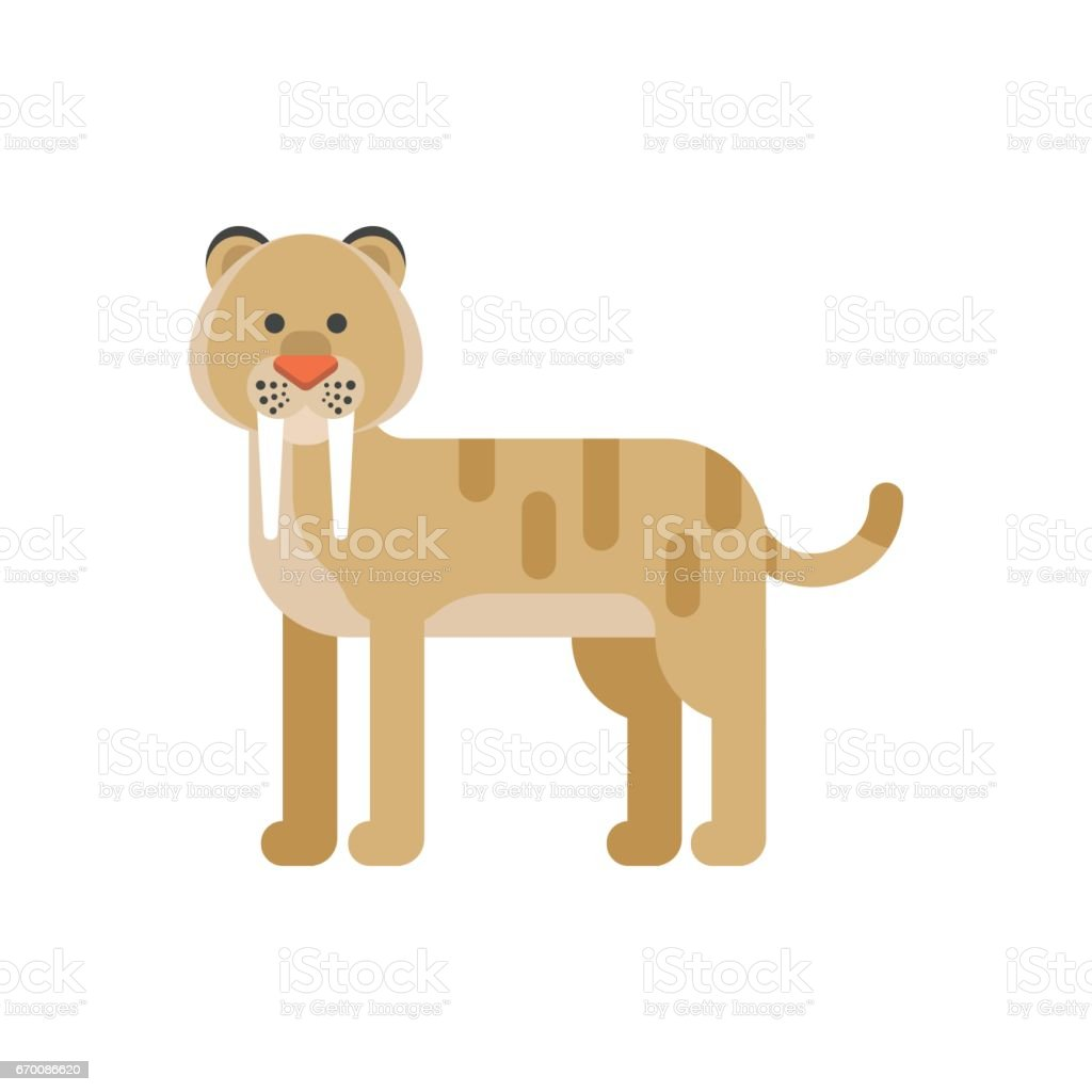 Vector flat style illustration of prehistoric animal - saber-toothed tiger. vector art illustration