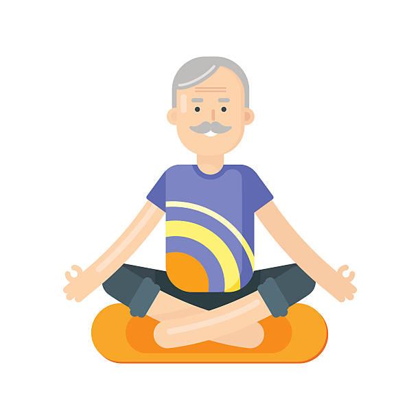 vector flat style illustration of senior man doing yoga. - old man sitting backgrounds stock illustrations, clip art, cartoons, & icons