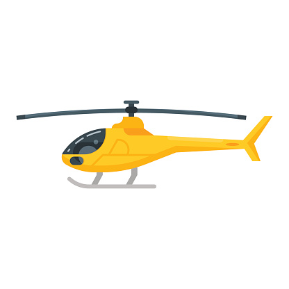 Vector flat style illustration of yellow helicopter. Icon for web.