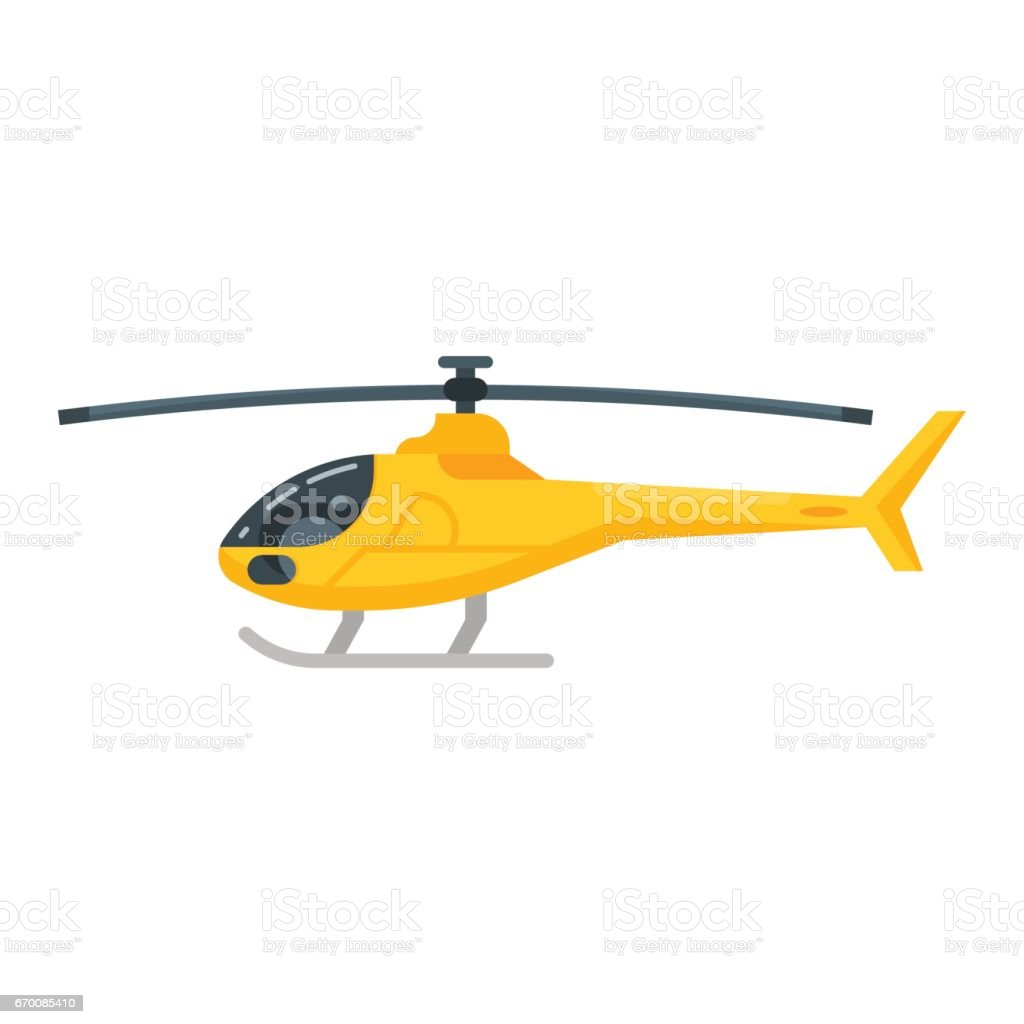 Vector flat style illustration of yellow helicopter. vector art illustration