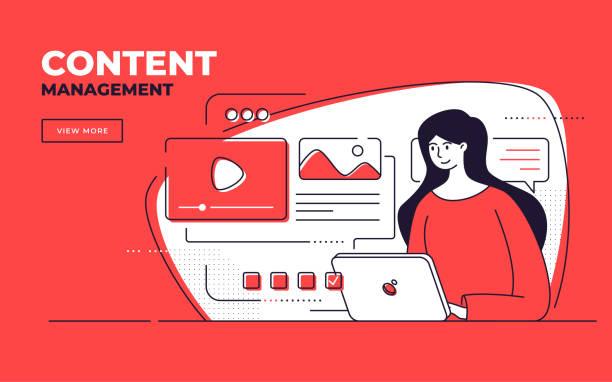 Vector flat style illustration on a content management, seo, website development Vector flat style illustration on a content management, seo, website development. contented emotion stock illustrations
