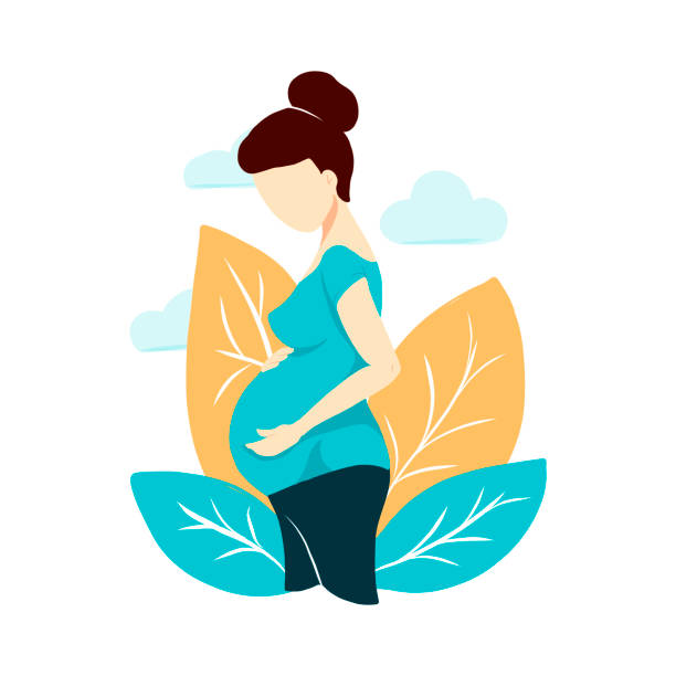 Vector flat style pregnant woman isolated on white background. Composition with leaves and clouds. Female waiting for a child for babycare site, birthing center, maternity home, doula, mom health Vector flat style pregnant woman isolated on white background. Composition with leaves and clouds. Female waiting for a child for babycare site, birthing center, maternity home, doula, mom health pregnancy stock illustrations