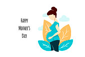 Vector flat style pregnant woman on white on Mother's Day card. Composition with leaves and clouds. Female waiting for a child for babycare site, birthing center, maternity home, doula, mom health