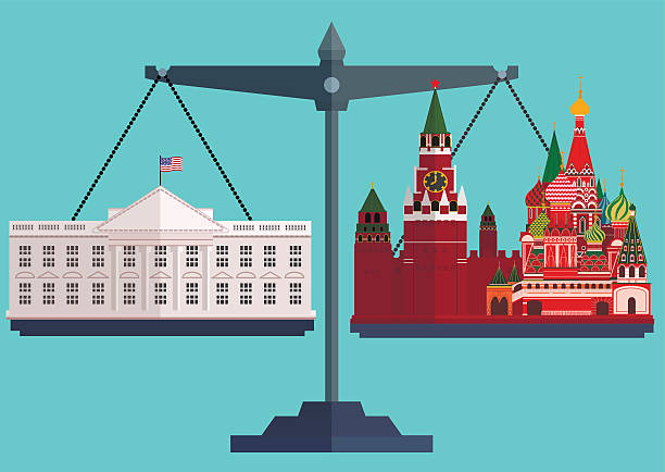 Vector flat style scales. The White House Washington on one Vector flat style scales. The White House Washington on one side and the Moscow Kremlin, St. Basil's Cathedral on the other.The conflict between America and Russia. The concept of balance in relationships. Vector illustration kremlin stock illustrations