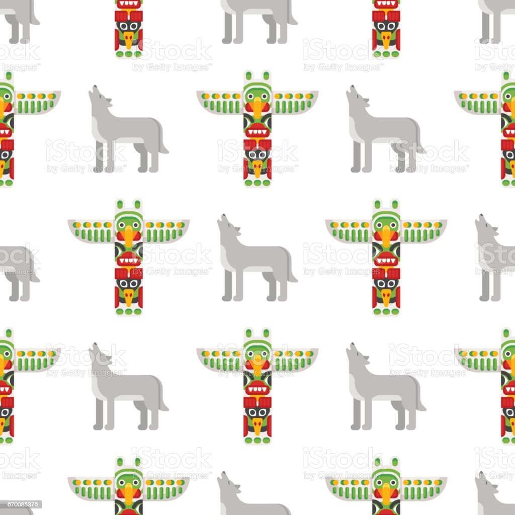 vector flat style seamless pattern with tribal totem and wolf
