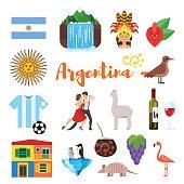 Vector flat style set of Argentina national cultural symbols.