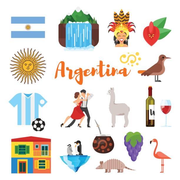 illustrations, cliparts, dessins animés et icônes de vector plat style jeu de symboles culturels nationaux de l'argentine. - argentine