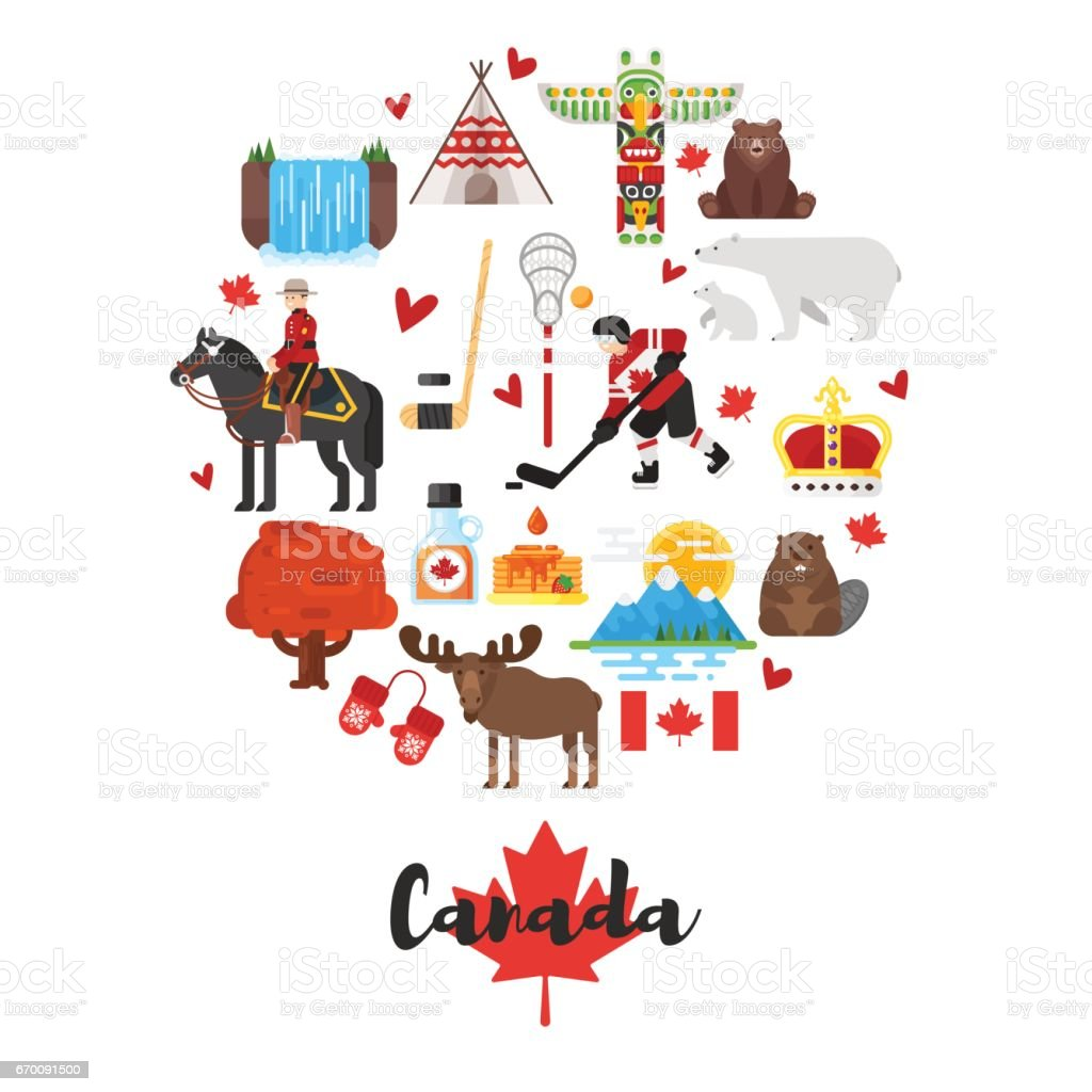 Vector flat style set of canadian national cultural symbols stock vector flat style set of canadian national cultural symbols royalty free vector flat style biocorpaavc Choice Image