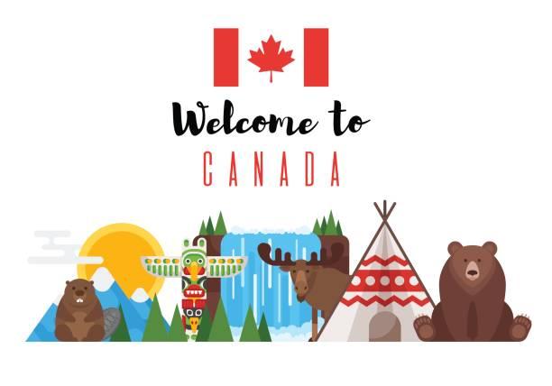 ilustrações, clipart, desenhos animados e ícones de conjunto de estilo plano de vetor de objetos nacionais canadenses. - viagem ao canadá