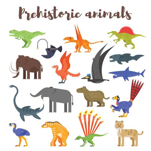 vektor flachen stil-set von bunten prähistorischen dinosaurier und tieren. - eiszeit stock-grafiken, -clipart, -cartoons und -symbole