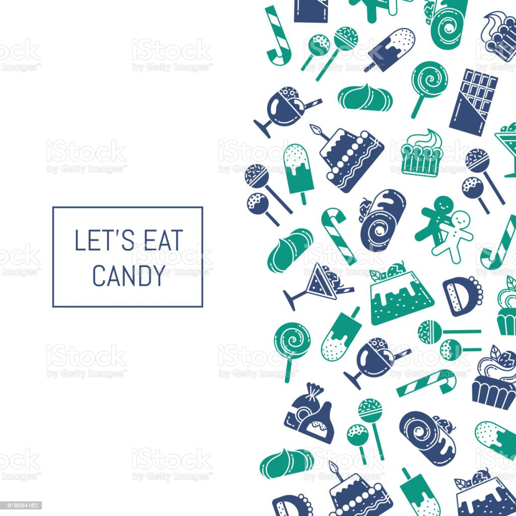 Vector flat style sweets icons background vector art illustration