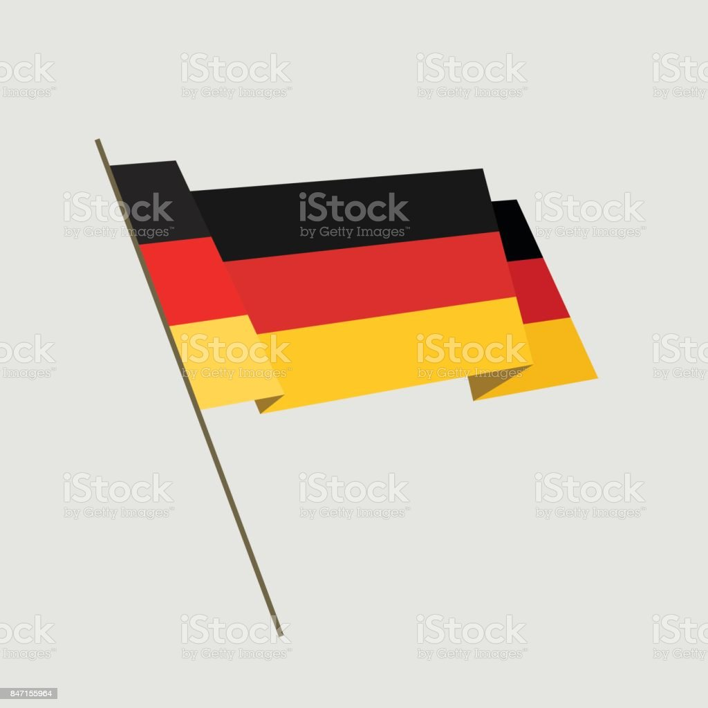 Vector flat style waving Germany flag vector art illustration